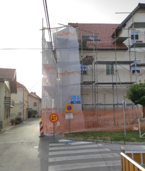 Obnova fasade glasbene šole pogled na ulico